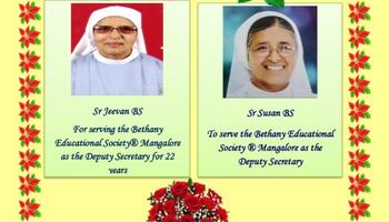 A Warm Welcome to Sr Susan BS and Thank you Sr Jeevan BS